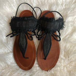 Lucky Brand Black Fringe Tie Sandals